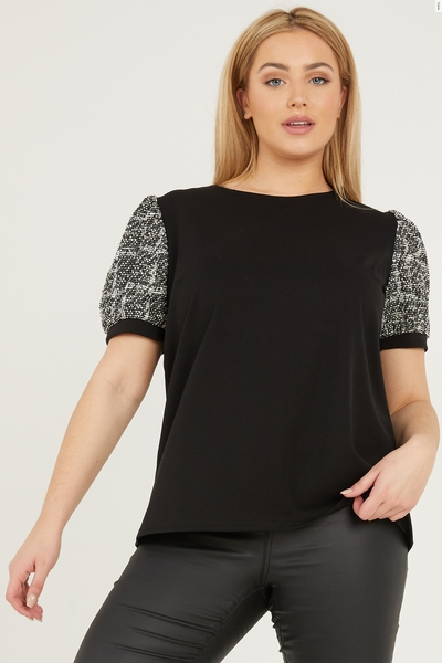 Curve Black Check Puff Sleeve Top